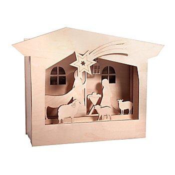 Holzbausatz 3D-Motivrahmen 'Krippe', 24 x 24 x 6,3 cm