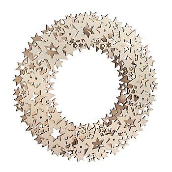 Couronne déco en bois 'étoiles', 35 cm Ø