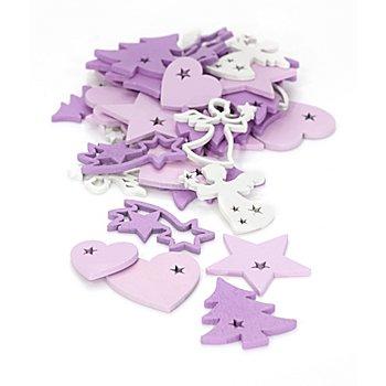 Motifs déco 'Noël', violet/rose/blanc, 2 - 4 cm, 36 pièces