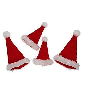 Bonnets tricotés, rouge/blanc, 7 cm et 9 cm, 4 pièces