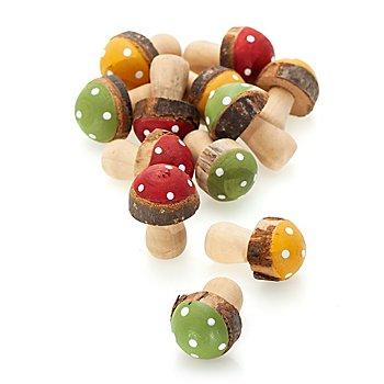 Holz-Pilze, rot-grün-orange, 3,5 cm, 12 Stück