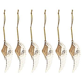 Metall-Hänger 'Engelsflügel', gold, 2,5 x 7 cm, 6 Stück