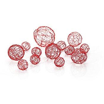Draht-Kugeln, rot, 13 Stück