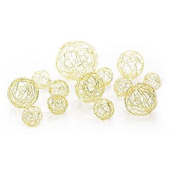 Boules en fil de fer, or, 13 pièces