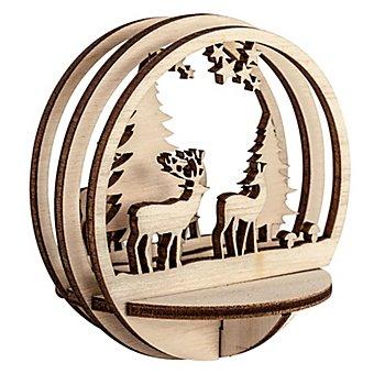 Holz-Steckteile 'Hirsch im Wald', 2 Stück