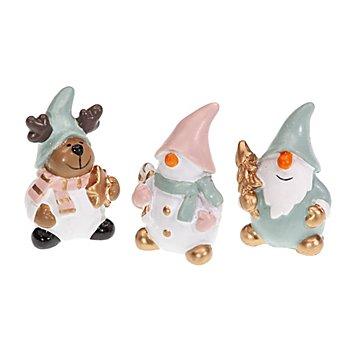 Deko-Figuren 'Rentier, Schneemann & Weihnachtsmann', 4 cm
