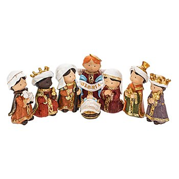Kindliches Krippenfiguren-Set, 3 - 8 cm