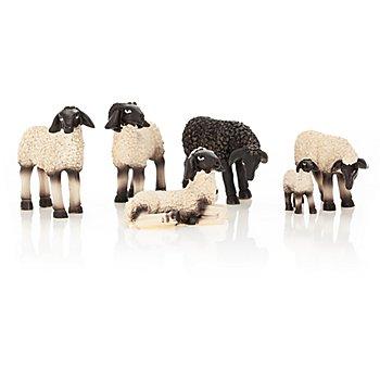 Schafe, schwarz-weiß, 2,5 - 4 cm, 6 Stück