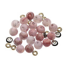 Set de perles en pierre naturelle, rose, 8 mm, 35 pièces