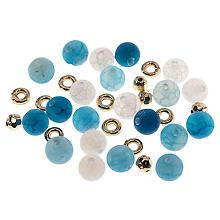 Set de perles en pierre naturelle, bleu, 8 mm, 35 pièces