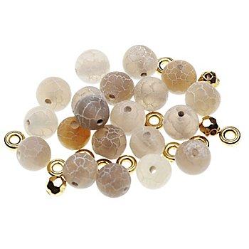 Perles en pierre naturelle, beige, 8 mm, 35 pièces