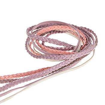 Lederbänder-Mix, rosa, 2 - 3 mm
