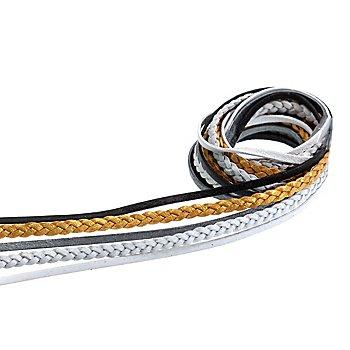 Lederbänder-Mix, gold-schwarz, 2 - 3 mm