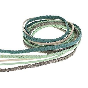 Lederbänder-Mix, türkis, 2–3 mm