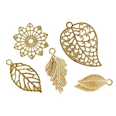 """Image of Anhänger """"Blätter"""", gold, 2,3&ndash_3,2 cm, 24 Stück"""