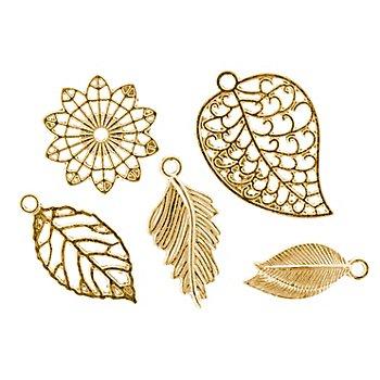 Pendentifs 'feuilles', doré, 2,3–3,2 cm, 24 pièces