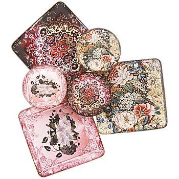 Carrelages déco 'motif floral', 4,8 x 4,8 cm et 3 cm Ø, 6 pièces