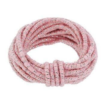 Wolldraht mit Glimmerband, rosa-silber, 5 mm Ø, 5 m