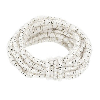 Cordon de laine avec fil scintillant, blanc/argenté, 5 mm Ø, 5 m