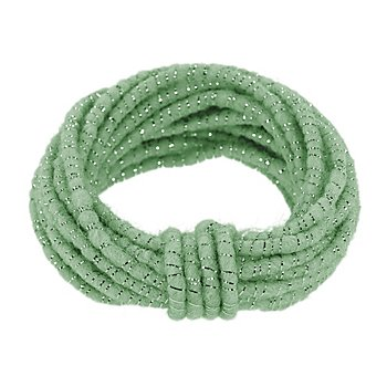 Wolldraht mit Glimmerband, mint-silber, 5 mm Ø, 5 m