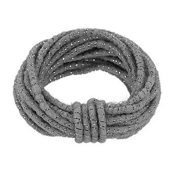 Wolldraht mit Glimmerband, grau-silber, 5 mm Ø, 5 m