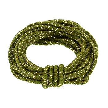 Wolldraht mit Glimmerband, grün-gold, 5 mm Ø, 5 m