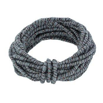 Cordon de laine à fil scintillant, bleu/cuivré, 5 mm Ø, 5 m