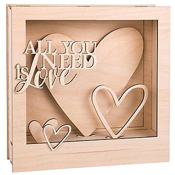 Holzbausatz 3D-Motivrahmen 'Love', 24 x 24 x 6,3 cm