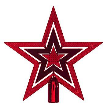 Christbaumspitze 'Stern' aus Kunststoff, rot, 20 cm Ø