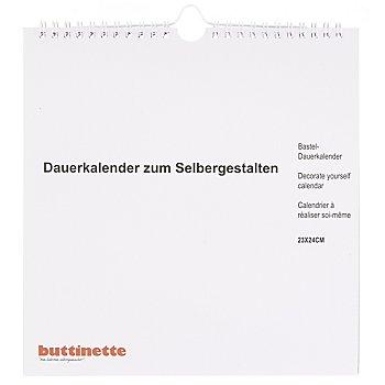 Bastel-Dauerkalender, weiß, 23 x 24 cm
