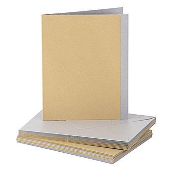 Doppelkarten mit Einleger und Hüllen, gold-silber, A6, je 5 Stück