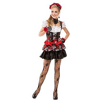 Robe 'têtes de mort et roses', noir/rouge pour femmes