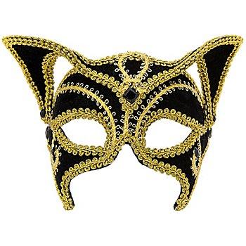 Venezianische Maske 'Black Cat', schwarz/gold