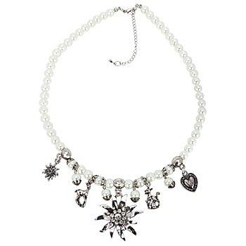 Collier en perles 'edelweiss', blanc/vieux argent