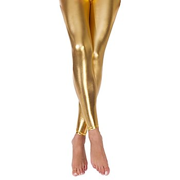 Leggings aus Stretchlack, gold