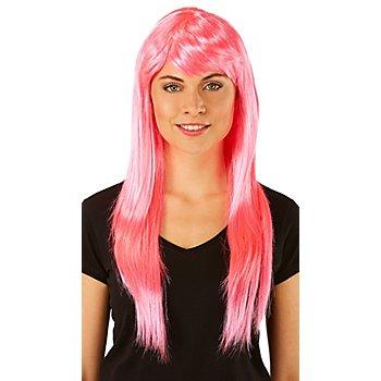 Perruque à cheveux longs, rose vif
