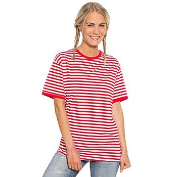 Kurzarmshirt, rot/weiß
