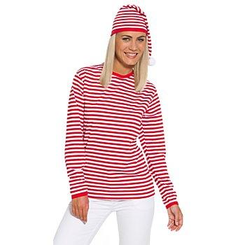 Langarmshirt, rot/weiß