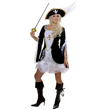 Musketier Kostüm für Damen, schwarz