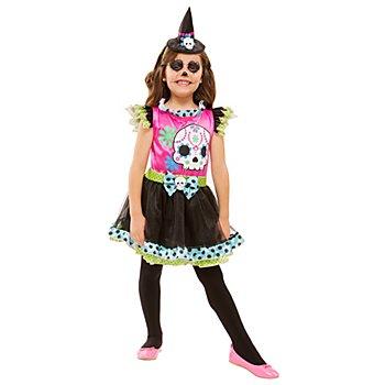 Hexe Totenkopf Kostüm für Kinder