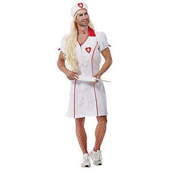 Déguisement infirmière pour hommes, blanc/rouge