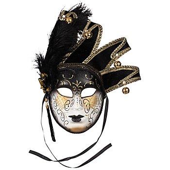 Masque en plastique avec 4 grelots, noir/blanc/doré