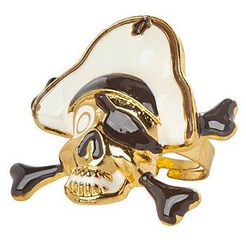 Ring Totenkopf, gold/creme/schwarz