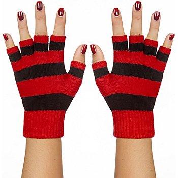 Strickhandschuhe, rot/schwarz