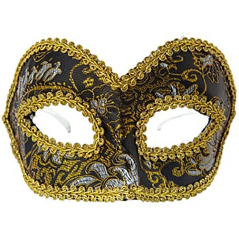 Masque Loup vénitien, noir/doré/argenté