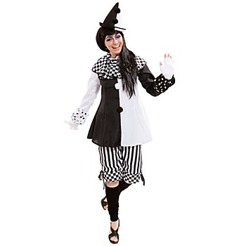 Harlekin Kostüm für Damen, schwarz-weiß