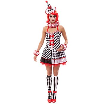 Pierrot Kostüm für Damen, schwarz/weiß/rot