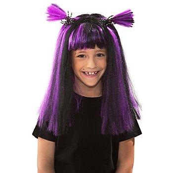 Hexe Perücke für Kinder, mit lila Strähnen