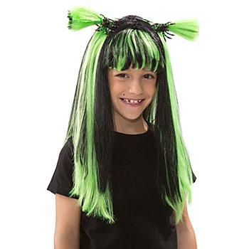 Hexe Perücke für Kinder, mit grünen Strähnen