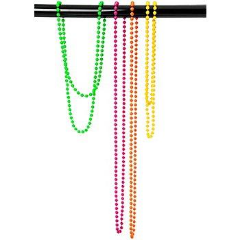 Colliers en perles, rose vif/vert/orange/jaune